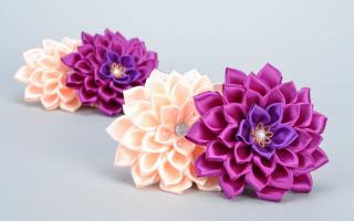 Цветы из атласных лент своими руками:обучающие мастер-классы с фото и видео
