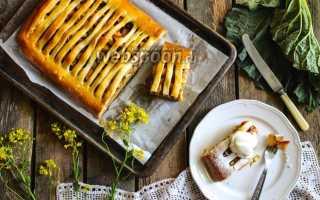 Пирог с ревенем и яблоками – как готовить с апельсином и ванильным кремом