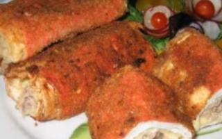 Фаршированные крабовые палочки с вкусной начинкой, фото