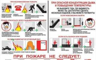 Что делать при пожаре: памятки в картинках при признаках возгорания