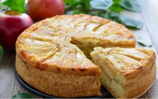 Шарлотка на кефире с яблоками пышная и вкусная